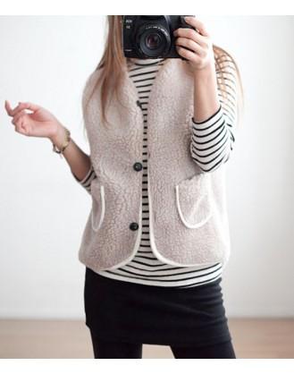 KL1835 韓國女裝背心 Fleece Vest
